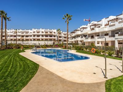 Photo for Modern apartment  with communal pool in San Juan de los Terreros, Andalusia, Spain for 4 persons