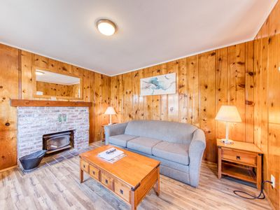 Photo for Cozy cabin near beach w/ wood stove & shared pool/hot tub- 2 dogs OK! (non-view)