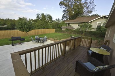 Great backyard with patios and deck