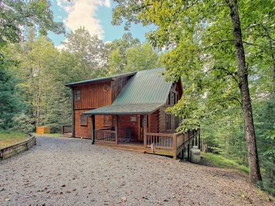Photo for Mountain cabin w/private hot tub, firepit, decks & woodland views
