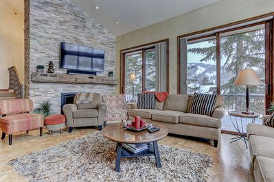Living Room with Fireplace, HD TV, Deck Access