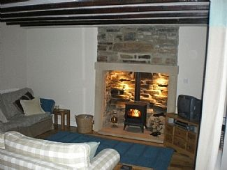 Living room with multi fuel stove