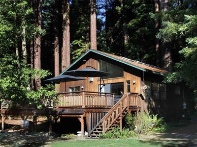Photo for LUCY'S LAIR: Airy Cottage | Creekfront | Gas Fireplace | Hot Tub | Redwoods