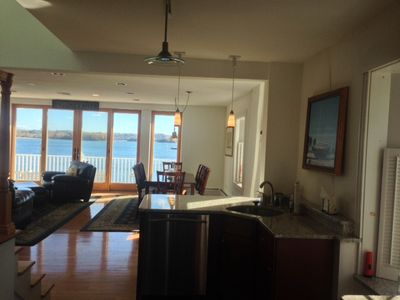 Kitchen is well equipped and has granite counter tops and water views!