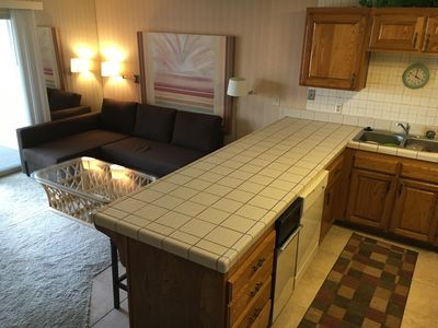 Large dbl. Futon and comfy Living Room, kitchen and dining room w/view of city.