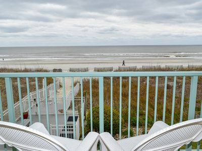 Photo for MAY AND JUNE DEALS!  WEEKLY AND NIGHTLY.  3 NIGHT MIN. Crescent Beach. 3 bedroom, 2 bath oceanfront condo.  Sleeps 6.  Enclosed pool.  No pets.  No smoking.  Motorcycles allowed.