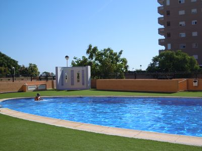 Photo for Apartment overlooking the sea and with artificial grass pool