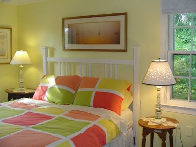 Sleep comfortably in lovely, romantic, peaceful bedroom surrounded by greenery.