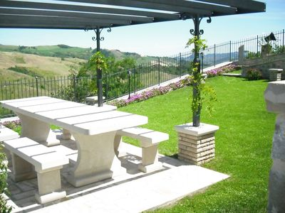 Photo for Graceful Apartment with Garden,BBQ,Heating, Garden Furniture