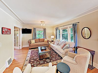 Photo for New Listing! Lovely & Spacious Home w/ 2 Living Rooms – Adjacent to Lake