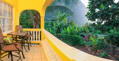 Photo for 3 bed, 2 bath bungalow; View of Petit Piton and Caribbean Sea; Easy beach access