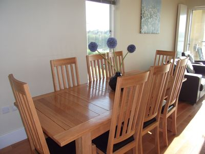 Dining area with solid oak dining table