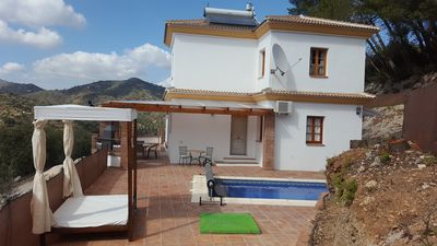 Photo for Very PRIVATE  villa with HEATED POOL, 4 bedrooms,  WIFI,aircon, bbq, great views