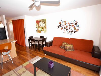 Photo for Modern 2-bdrm and open den on the Bayside close to beach and park with free WiFi, two-car parking!