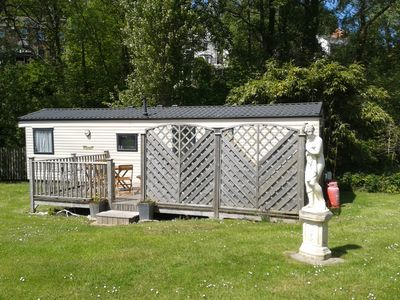 Photo for Beautiful mobile home on quiet park at Hele Bay nr Ilfracombe - huge sunny deck