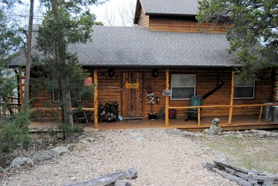 Front view of Cabin 105 from road and parking area
