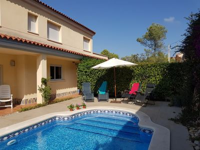 Photo for Secluded family 4 bedroom and 3 bathroom villa will pool near Sitges