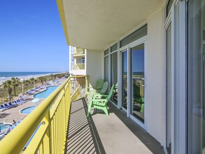 Photo for 2 Bedroom 2 Bath OCEANFRONT Condo. Outdoor pool, indoor pool, lazy river. Pets allowed only from Oct. 1 to March 31