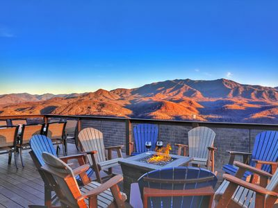 Photo for BRAND NEW Luxury 5BD/4BA Cabin! INCREDIBLE Views! Theater, Fire Pits, HUGE Decks