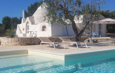 Photo for Villa & renovated Trulli, private Pool, Privacy in olive grooves, Ceglie 2,5 km