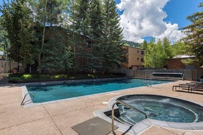 Newly renovated pool and spa summer 2019.  Our unit overlooks the pool!