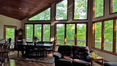 Photo for New Listing! Stunning Lake Home on Wooded 9 Acre Private Lot