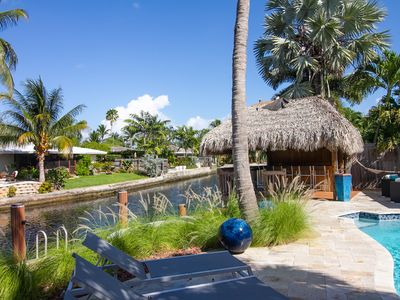 Photo for Modern, waterfront home w/private pool, cabana & dock - near beach