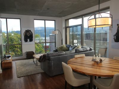 Photo for Modern Condo in Downtown, River Views, Above coffee shop, sleeps 5, bunk beds