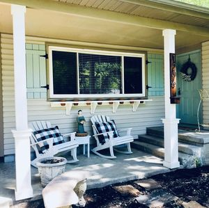 Comfiest front porch for sipping coffee or a glass of wine!