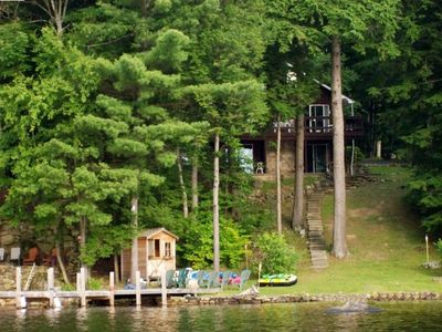Photo for Gorgeous Lakefront Adirondack Chalet, Close to Lake George, Private Dock