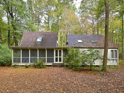 Photo for FREE ACTIVITIES!  Rustic 4 bedroom, 2.1 bath beach home is located in the highly sought after private Middlesex Beach comunity on quiet wooded street.