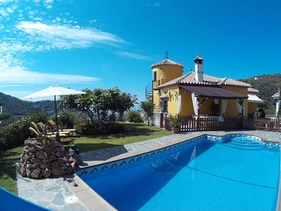 Photo for Spanish renovated Villa with pool + seaview, Wifi, Aircon 5 min to beach
