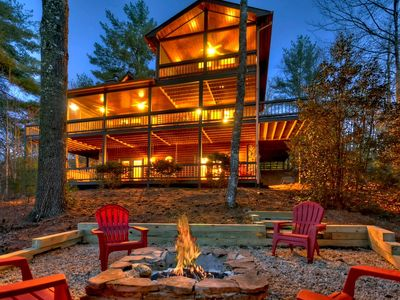 Photo for Log Home in Aska Adventure Area, Sleeps 6, Mountain View, Hot Tub, Game Room