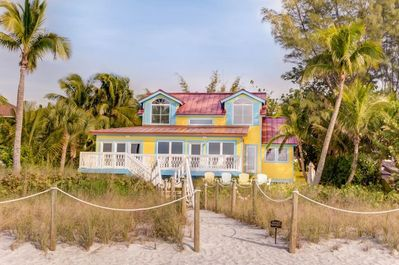 Beach side view of the Gulf front house.