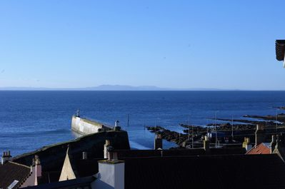 View from balcony towards harbour and Pentland hills across the Forth.