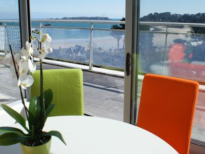 Photo for Luxury apartment, sea view, breathtaking panorama Perros Guirec beach.