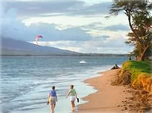 Enjoy walking the beach in front of Maui Sunset