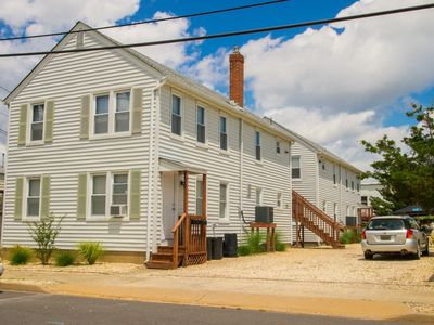 Our property from the street, the rental is the first floor of the rear building