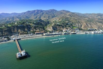 Aerial photo showing the location of vacation rental