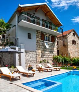 Photo for * NEW * Charming stone house Duje with heated pool and jaccuzi