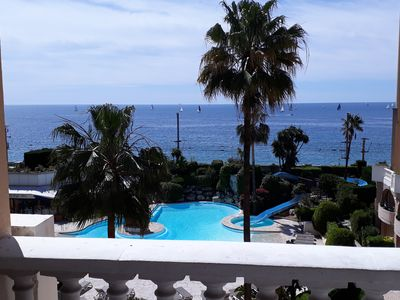 Photo for Cannes beautiful sea view with 2 pools, air conditioning, 50 m from beaches !!
