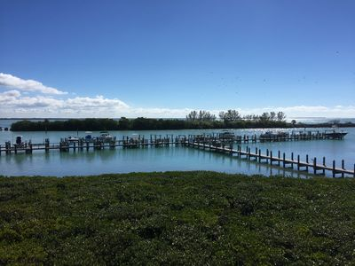 The boat dock, with slips available for daily, weekly or monthly rentals