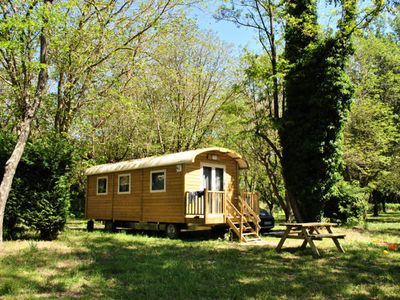 Photo for Camping Huttopia Le Moulin *** - Roulotte 3 Rooms 4 People