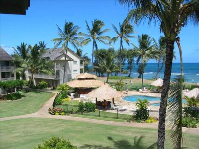 Photo for This pic is your STUNNING OCEANVIEW from Lanai! Resort! Pool! Top Floor!AC
