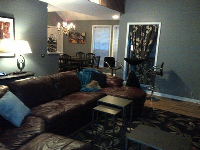 Great getaway for families and friends Open living area with large deck