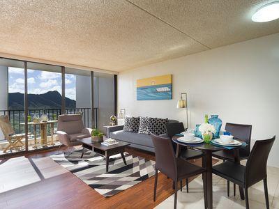 Photo for Amazing Ocean/Diamond Head view @ Waikiki Banyan 1 Bed/1Bath free parking & wifi