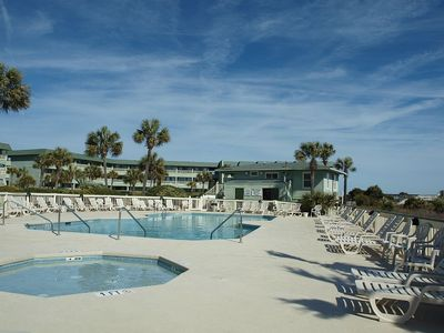 Photo for Beautiful Oceanfront Views! 2nd Floor Unit Overlooking the Beach, Pool and the Fishing Pier!