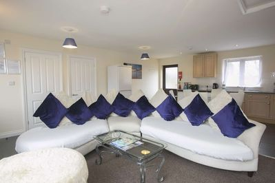 Lounging in our comfy open plan cottage