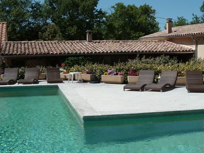 Photo for Very comfortable gite with swimming pool and views of the Luberon mountains