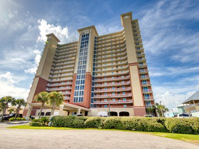 Photo for Gulf front condo w/ a shared, outdoor pool, gym, sauna, & grilling area